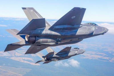 A handout photograph dated March 3 shows the Royal Australian Air Force's first F-35A Lightning II aircraft flying to the Australian International Airshow at Avalon airport in Victoria. Photo: AFP