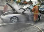 大溪火燒跑車 幸無人傷亡