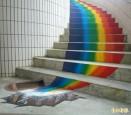 山林小校螺旋梯 彩繪變彩虹