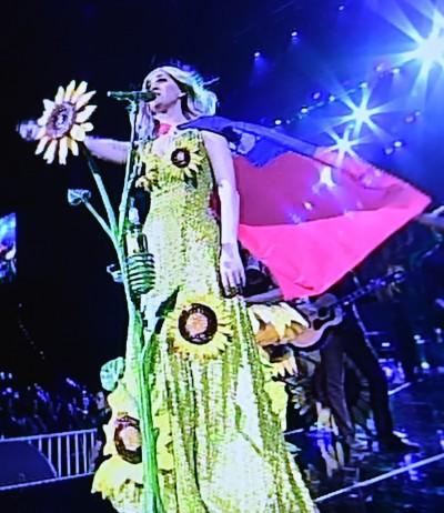 凱蒂佩芮持國旗登台  化身太陽花女神