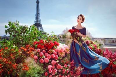 (圖多)人比花嬌!林心如婚前曝光巴黎美照