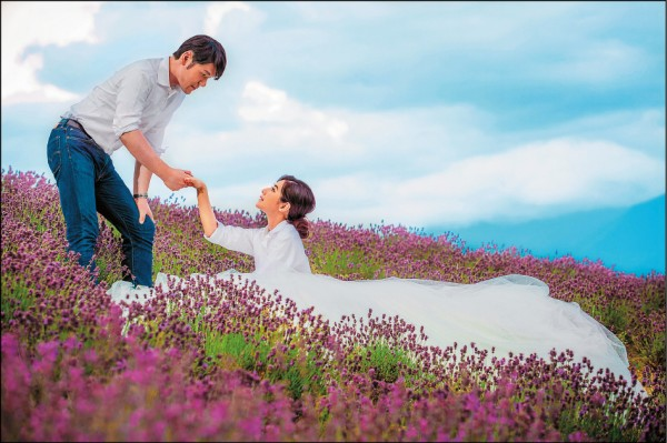 陳怡蓉北海道拍婚紗 回味薰衣草相戀原點