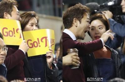 超甜蜜!黃靜茵與新婚老公親密貼臉看球賽