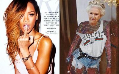 P圖讓英國女王露胸又露腿 蕾哈娜挨轟噁心不尊重