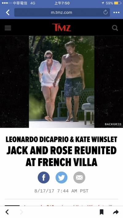 鐵達尼CP更進一步!李奧納多帶凱特溫絲蕾進房