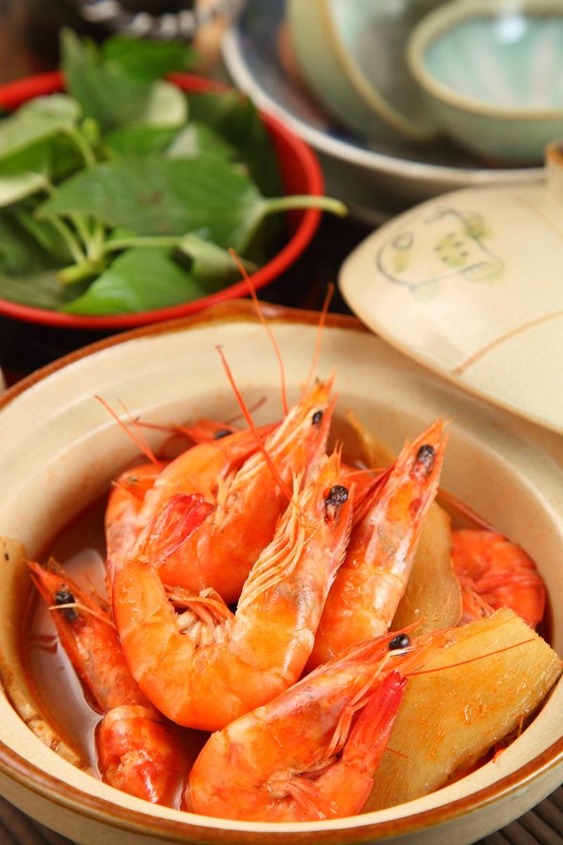 麻油鮮蝦煲