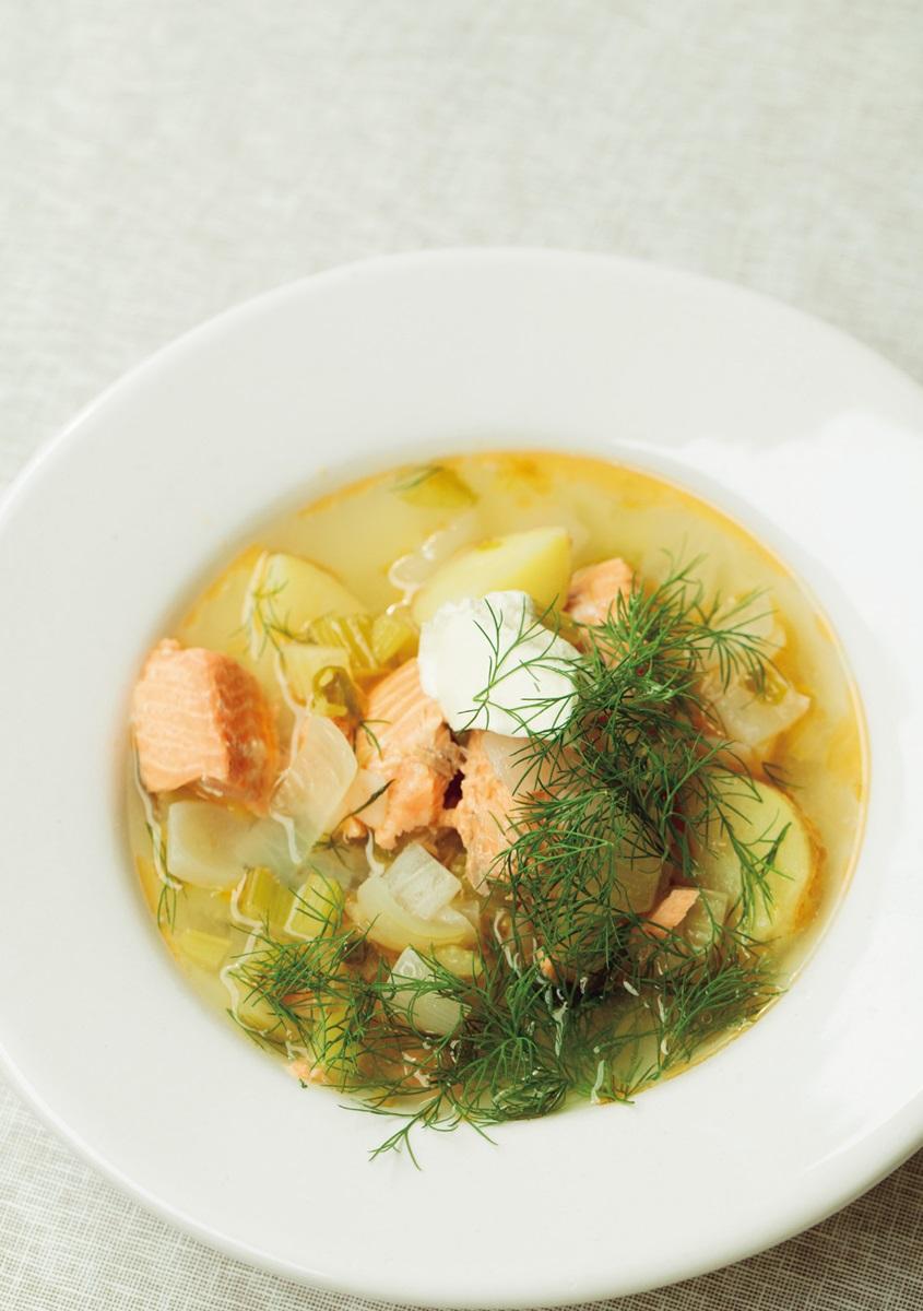 蒔蘿鮭魚蔬菜湯