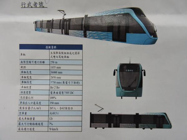 淡海輕軌開放車輛票選活動,由水藍色行武者號勝出。(記者賴筱桐翻攝)