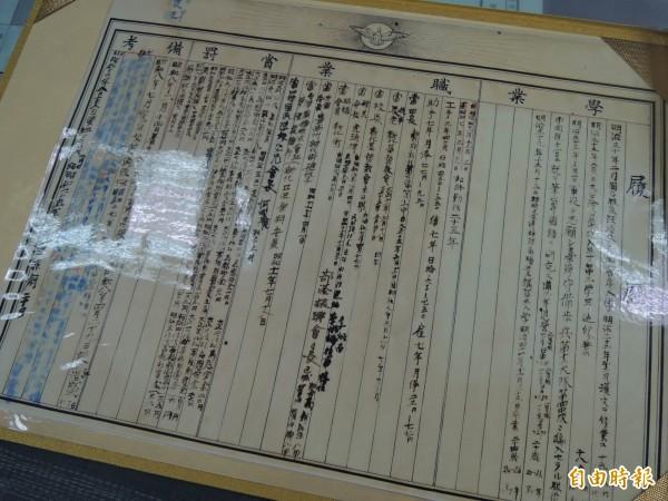 傅祥露親寫的文物紀錄,也見證台灣地方的發展歷程。(記者林孟婷攝)