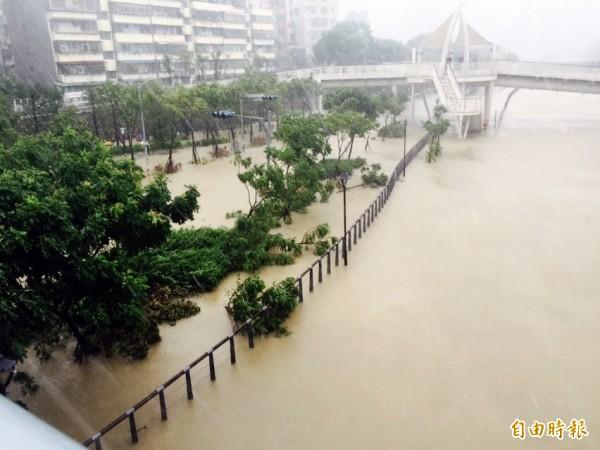 湳仔溪水暴漲,一旁環河道路汪洋一片。(記者陳韋宗攝)