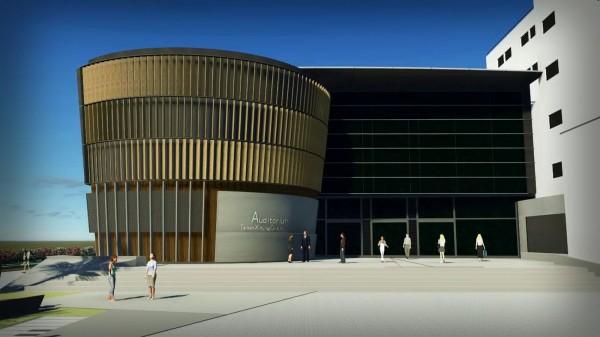 新營文化中心外觀3D示意圖。(圖由李退之提供)