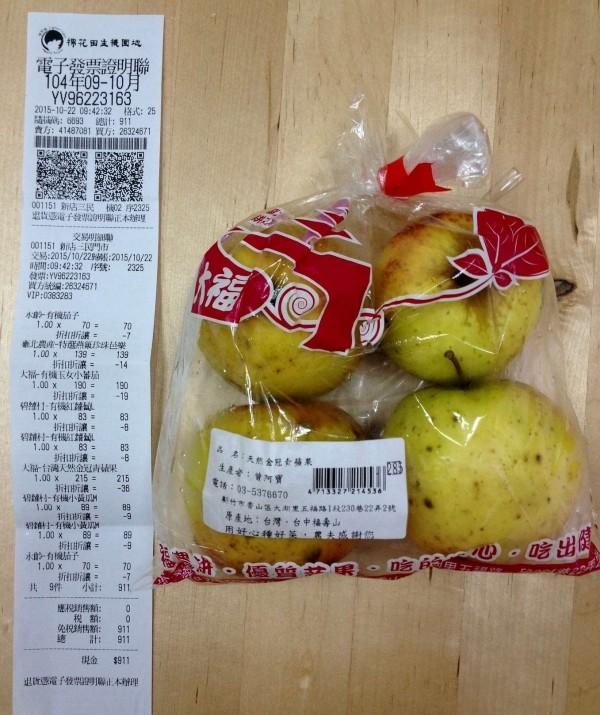 棉花田販售的青蘋果被驗出包括陶斯松、待克利和撲滅寧等5種農藥殘留。(圖由綠色和平提供)