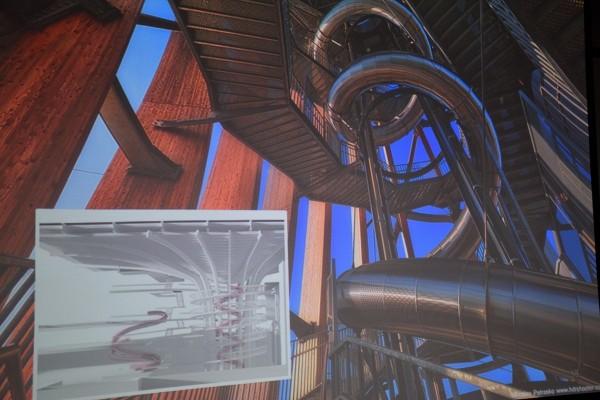 樹德企業在南崗工業區設置的觀光工廠,將打造全台最高的一座溜滑梯,畫面為模擬圖。(縣府提供)