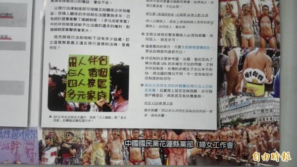 國民黨花蓮縣黨部製作反多元成家的文宣,引用大量同志遊行的相片,標示德淪喪、家庭破碎、人倫親情敗壞、請救救下一代等等的文字。(記者王錦義翻攝)