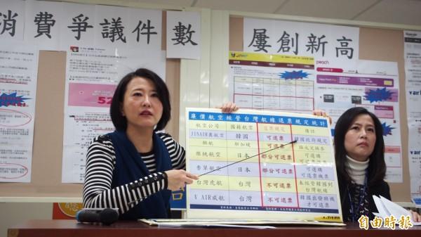 北市議員王鴻薇(左)開記者會,批評台灣廉航公司訂票卻無法退票。(記者蔡亞樺攝)