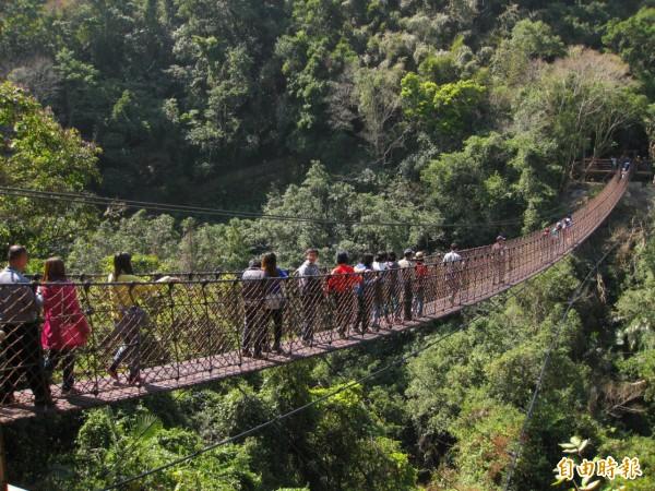 小烏來風景特定區天空繩橋。(記者李容萍攝)