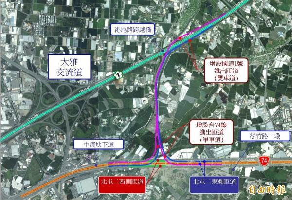 高公局規劃大雅交流道附近增設系統交流道銜接台 74 線,紓解國道 1 號交通瓶頸路段。(記者黃鐘山攝)