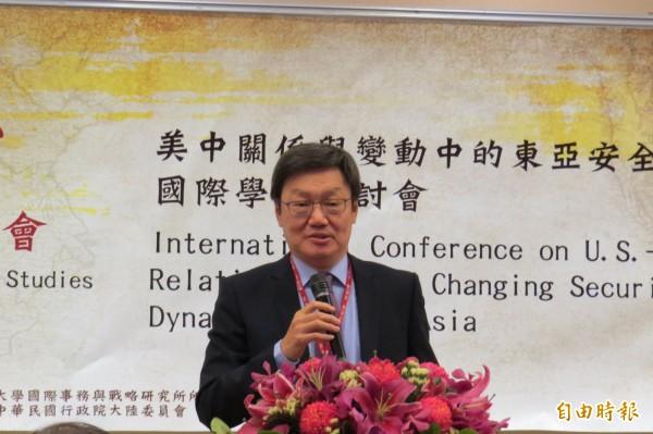 前國安會秘書長蘇起今指出,美國在台灣問題上避免與中國發生衝突。(記者陳鈺馥攝)