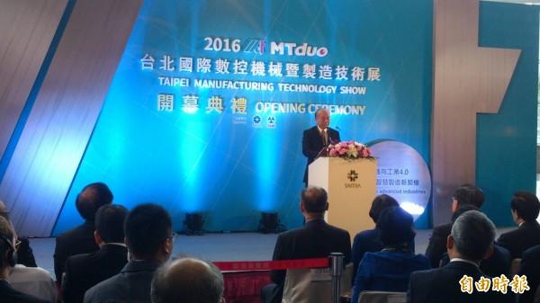 2016年台北國際數控機械暨製造技術展今(5日)在南港登場,圖為機械公會理事長柯拔希於開幕典禮中致詞。(記者羅倩宜攝)