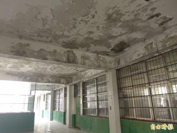 碧華國中和平樓四樓天花板牆面斑駁、鋼筋裸露,時有漏水狀況,在等待全校重建工程期間的過渡期,該樓層已經清空,除補強後可使用的專科教室外,皆不做普通教室用途。(記者李雅雯攝)