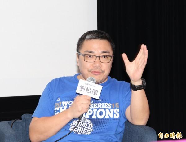 遊戲橘子董事長劉柏園積極衝刺全生態網路布局,4月營收成長。(記者張慧雯攝)