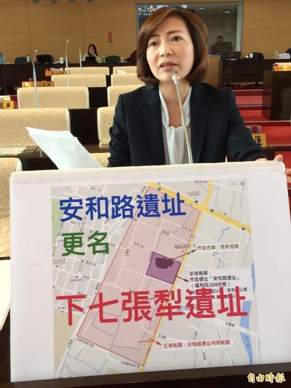 「安和路市定遺址」不符遺址命名慣例,市議員陳淑華要求更名「下七張犁遺址」。(記者黃鐘山攝)