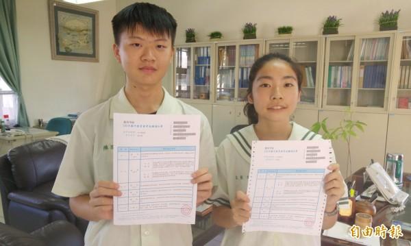新台灣之子的新營興國高中附設國中部的學生陳泓興(左)與莊榮文(右)考5A++。(記者楊金城攝)