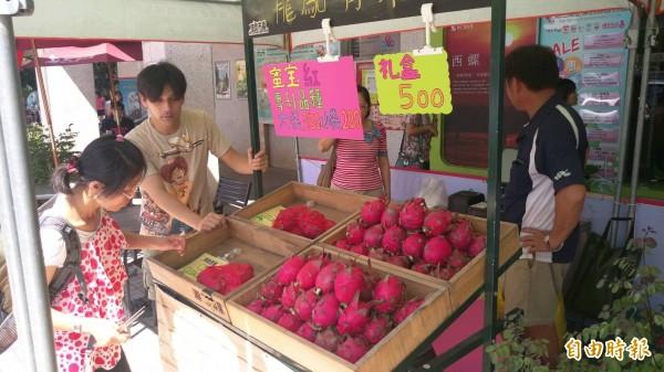 水林小農在西螺休息站販售的火龍果,頗受民眾喜愛。(記者陳燦坤攝)