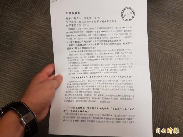 法治時報社長黃越宏,今到台北地檢署遞狀告發。(記者錢利忠攝)