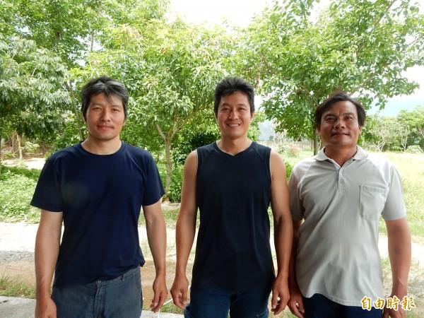 吳東益(中)三度蟬聯關山米王,其兄吳昱軒(左)今年也拿下關山米競賽第三名,兩人將與羅金榮(右)組隊,以台稉二號一起參加全國賽。(記者王秀亭攝)