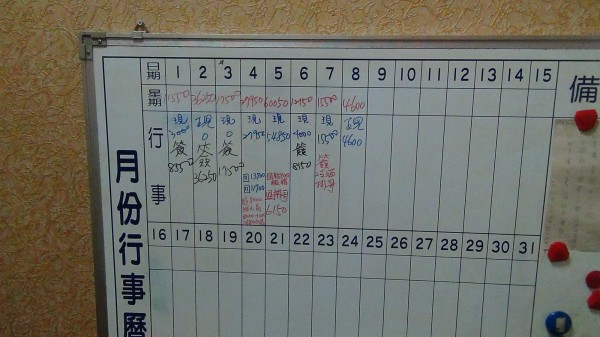 警方在傳播公司發現小姐簽到報班的白板。(記者許國楨翻攝)