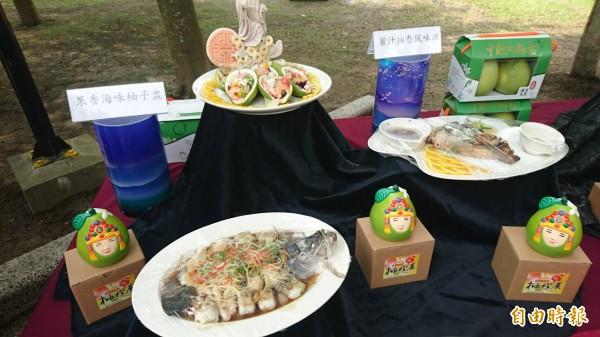 文旦大餐和文旦彩繪。(記者楊金城攝)