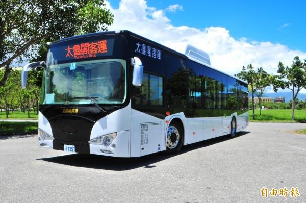 太魯閣客運新購電動巴士7輛,計畫未來將擴充到10輛。(記者花孟璟攝)