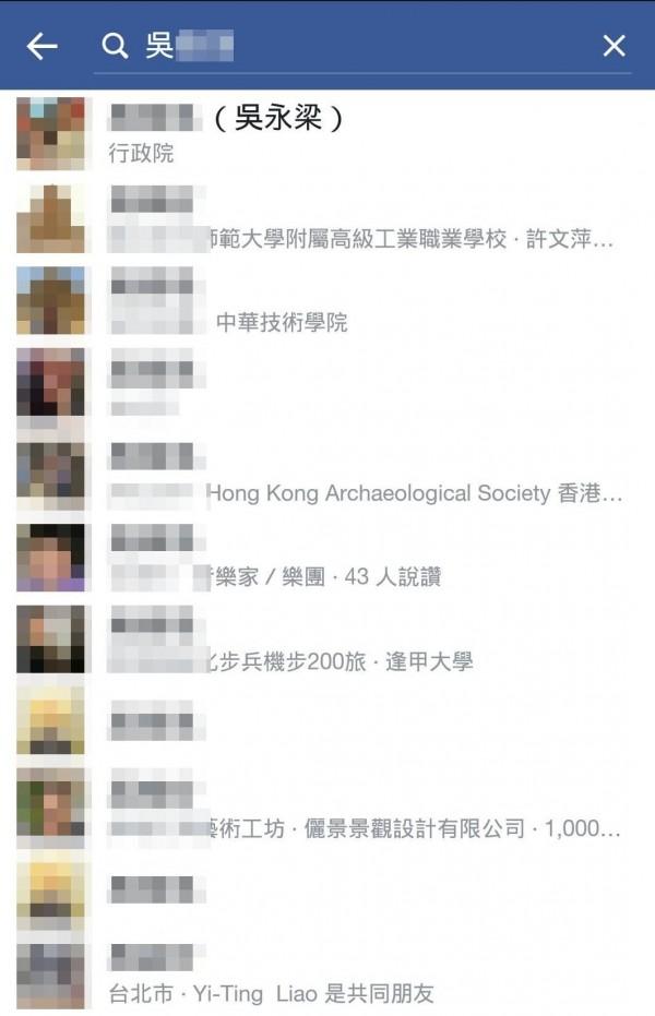 吳姓男子去年偽造吳永梁法官名義註冊臉書帳號,雖然已更改原名,但是手機搜尋仍找得出員註冊名字。(翻攝照片)