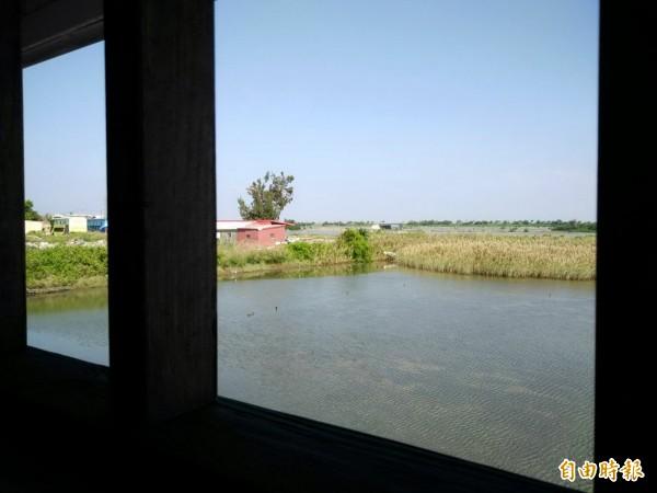 井仔田連公廁窗戶望出去都有鳥景,非常適合愛鳥人士來此低調內斂地,蒐集專屬鳥類的一季喧嘩。(記者王涵平攝)
