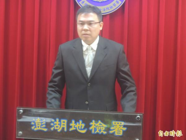 澎湖地檢署主任檢察官劉俊良,首次就馬公5女密室燒炭案情對外說明。(記者劉禹慶攝)