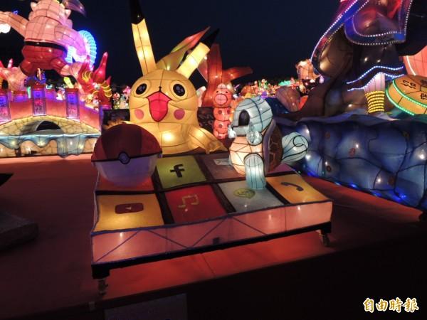 寶可夢也出現在台灣燈會裡。(記者黃淑莉攝)