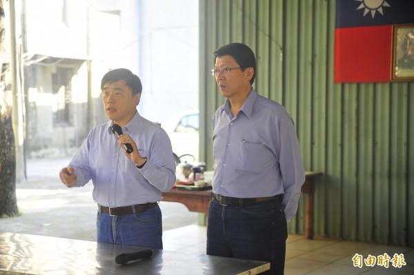 參選國民黨主席520改選的副主席郝龍斌到台南固票,針對陳庚金呼籲軍公教打混拖垮政府一事,他說自己沒有聽見。(記者王捷攝)