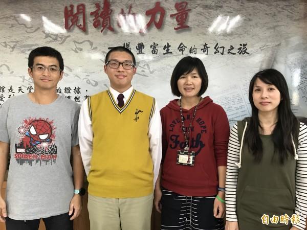 簡鶴昇(左1)、陳菁徽(右1)、張儷禛(右2)被陳伯霏孝心感動,集資送他眼鏡。(記者洪臣宏攝)