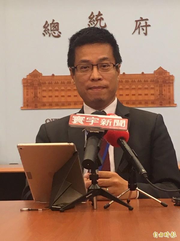 黃重諺今天回應中國國台辦搶辦228事件「系列紀念活動」。(記者蘇芳禾攝)