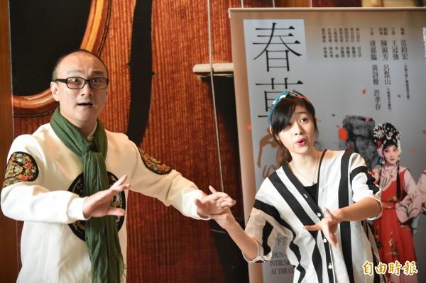 《西施歸越》由溫宇航(左)、林庭瑜(右)飾演范蠡與西施。 (記者張忠義攝)