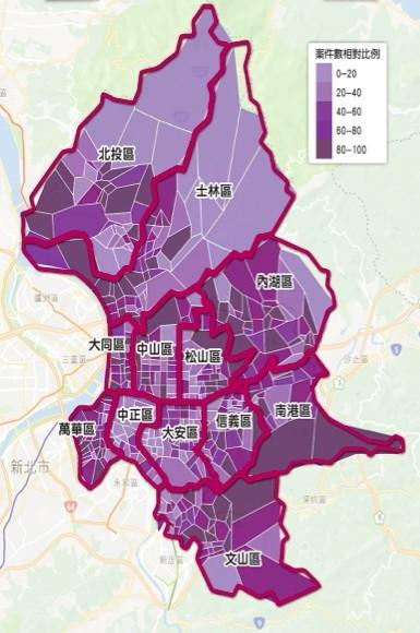 「家暴案件地圖」昨日上線,民眾可上網查出北市四五六個里家暴案件通報數量。(社會局提供)