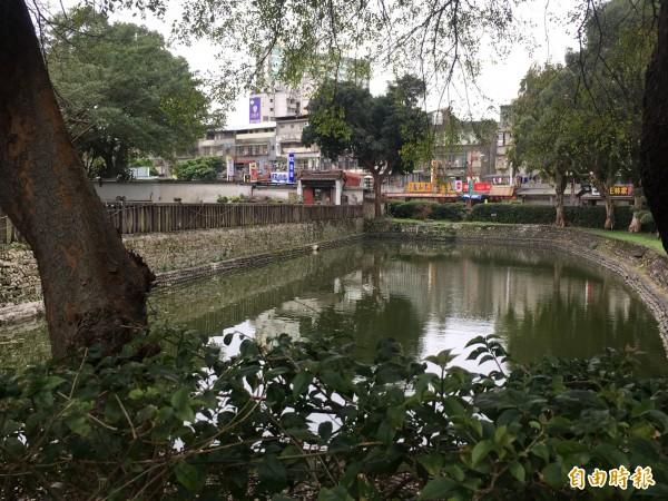 板橋林家花園水池深不見底,文化局坦承待改善。(記者聶瑋齡攝)