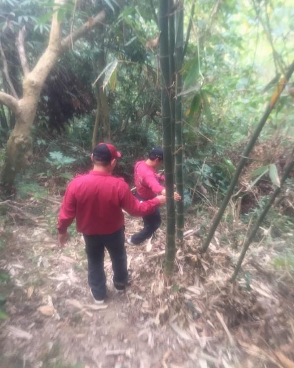 消防、救難人員在深山竹林區搜尋失蹤的宋姓老翁。(記者湯世名翻攝)