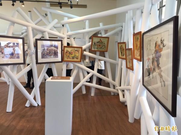 新竹縣內灣國小裡的劉興欽漫畫教育館,空間設計相當有特色。(記者蔡孟尚攝)
