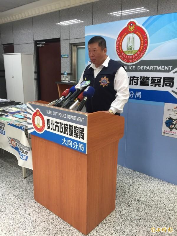 台北市大同警分局偵查隊長吳坤財説明案情。(記者陳恩惠攝)