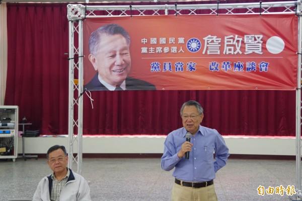 爆國民黨主席選舉賄選綁樁,參選人之一的詹啟賢認為,黨應該慎重調查。(記者蔡政珉攝)