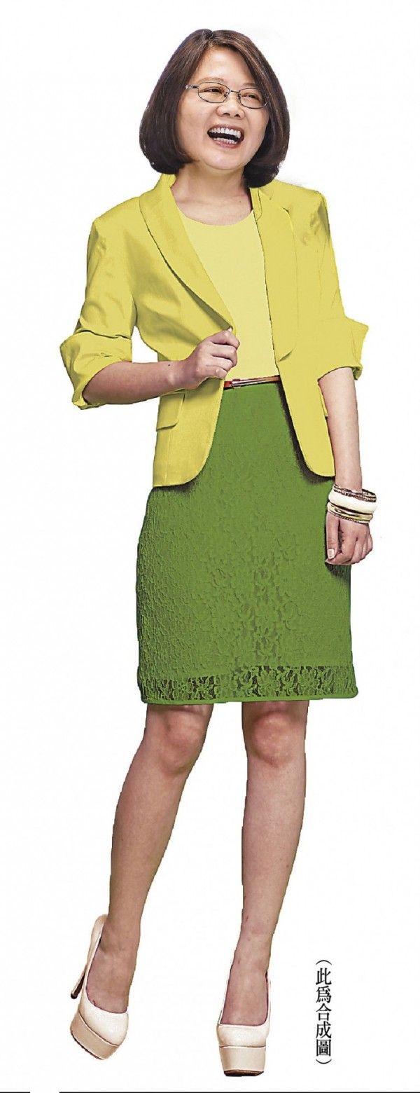 穿上黃綠色裙裝的蔡英文,比起穿上黑、灰褲裝更具親和力呢!(此為合成圖,基因色彩、本報資料照)