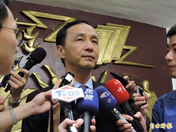是否參選台北市長,朱立倫說「沒有這回事」。(記者何玉華攝)