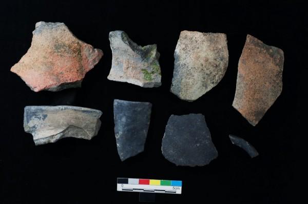 嘉義縣發現的史前陶片。(記者林宜樟翻攝)